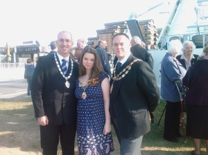 Mayor Horler , his fiance and myself in front of the Weston Wheel